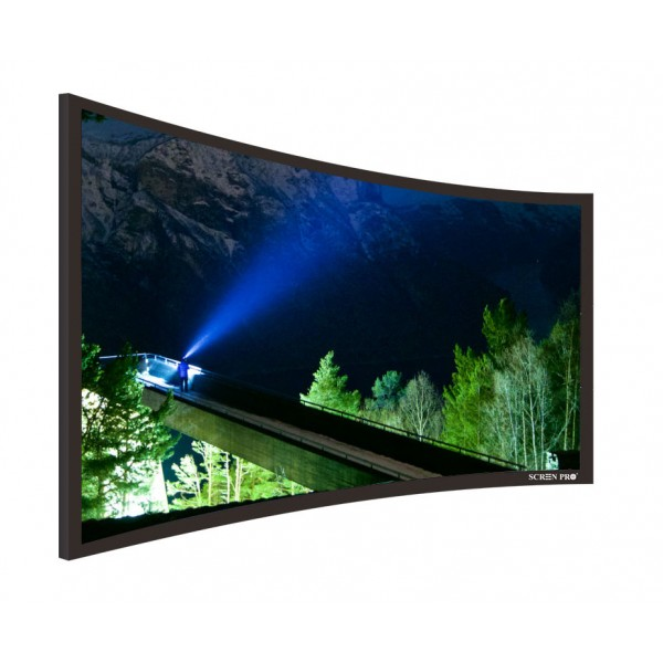 "Liberty Screen Pro 100"" (16:9) Curved Fixed Frame Acoustic Woven 90MM"