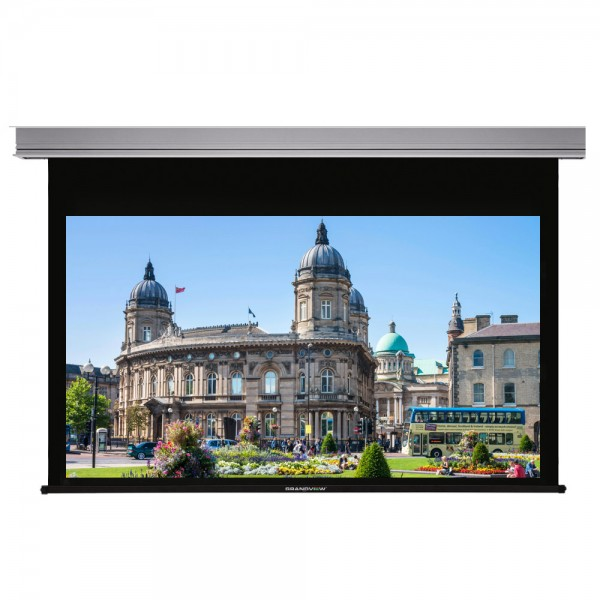 "Liberty Grandview 100"" (16:9) Cyber Series Recessed Ceiling Motorized Screen with Matte White"