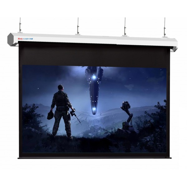 "Liberty Screen Pro Topview Plus 400"" (4:3) Giant Motorized Screen - Stainless Steal (Black Drop UP 150mm)"
