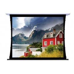 """Liberty Screen Pro 100"""" 4:3 Unique In-Ceiling Recessed Tab Tension Motorized TW Screen"""